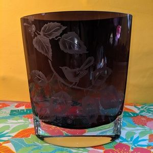 Purple etched glass vase